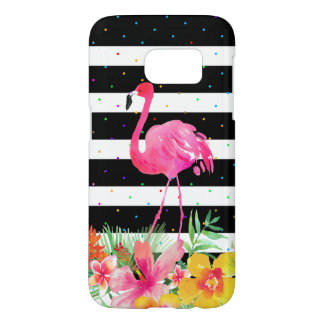 Cute Flamingo Tropical Flowers & Black Stripes Samsung Galaxy S7 Case