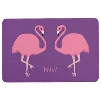 Cute Flamingos custom monogram floor mat