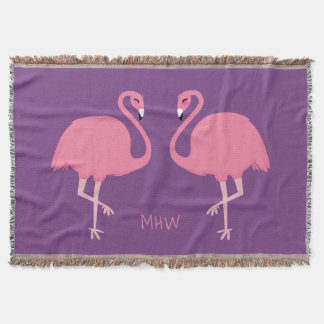 Cute Flamingos custom monogram throw blanket