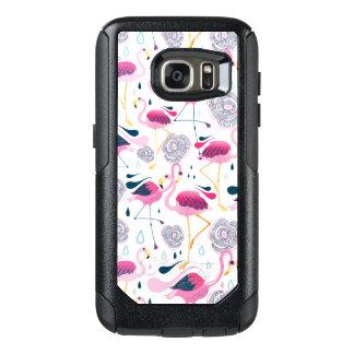 Cute Flamingos & Stylized Tropical Flowers Pattern OtterBox Samsung Galaxy S7 Case