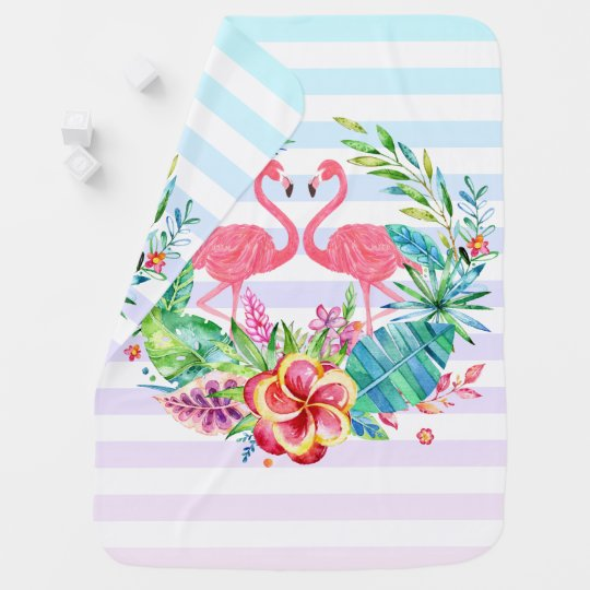 Cute Flamingos With Colourful Tropical Wreath Baby Blanket