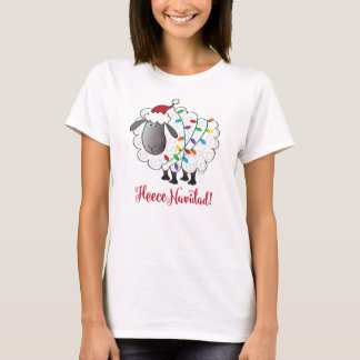 Cute Fleece Navidad Sheep with Christmas Lights T-Shirt