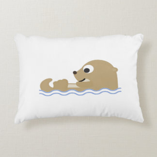Cute Floating Otter Decorative Pillow