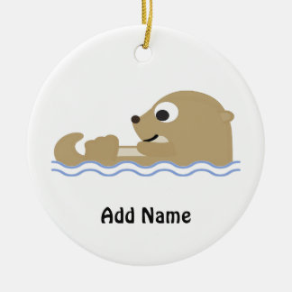 Cute Floating Otter Round Ceramic Ornament