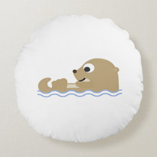 Cute Floating Otter Round Pillow