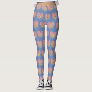 Cute Floating Otter with a Heart in the Background Leggings
