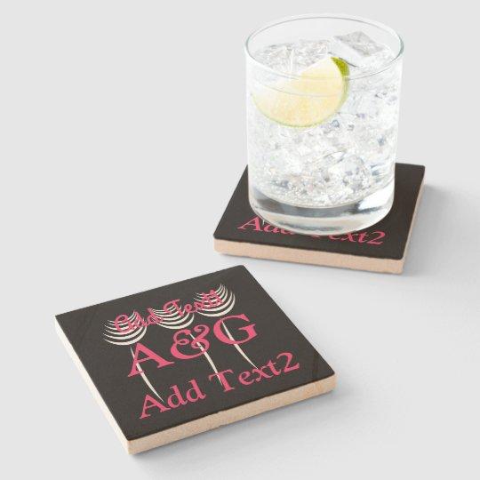 Cute Floral Black Pink Wedding Monogrammed Stone Coaster