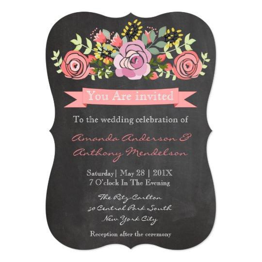 Cute floral blackboard card