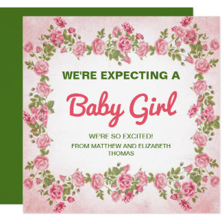 Cute Floral Chic Baby Girl Pregnancy Announcement