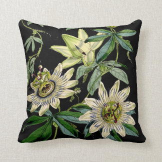 Cute floral cushion, passion flower , passiflora throw pillow