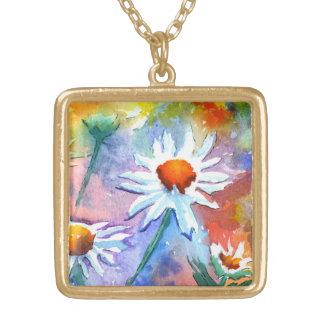 Cute Floral Daisy Watercolour Pendant Necklace