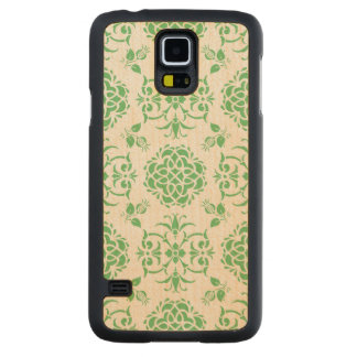 Cute Floral Damask Stylie Pattern Green and White Carved Maple Galaxy S5 Case