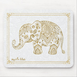 cute floral elephant frame gold glitter on white mouse pad - Elephant Picture Frame