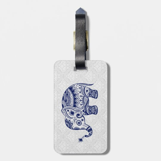 Cute Floral Elephant In Navy Blue & White Luggage Tag