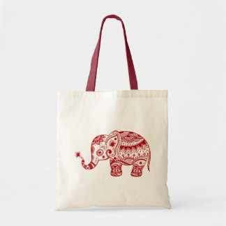 Cute Floral Elephant In Red Tote Bag
