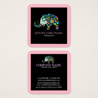 Cute Floral Elephant On Black Pink Border Square Business Card