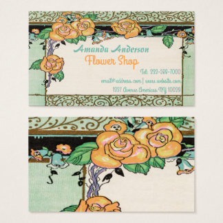 cute floral frame business card
