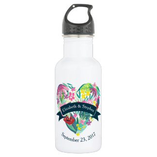 Cute Floral Heart with Tropical Flowers Wedding 532 Ml Water Bottle
