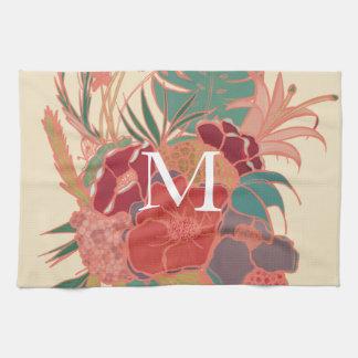 Cute Floral Monogram Kitchen Towel