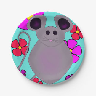 CUTE FLORAL MOUSE PRINT FOR PAPER PLATE