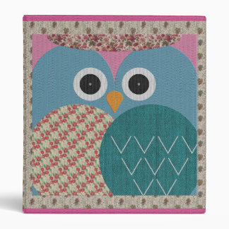 Cute Floral Owl Fabric Design 3 Ring Binders