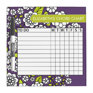 Cute Floral Pattern Chore Chart Dry Erase Boards