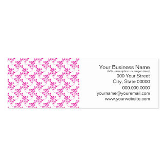 Cute Floral Pattern in Bright Pink over White Business Card Template
