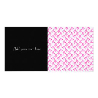 Cute Floral Pattern in Bright Pink over White Custom Photo Card