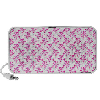 Cute Floral Pattern in Bright Pink over White Mp3 Speakers