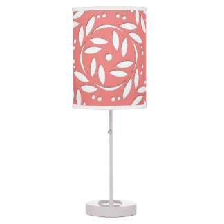 Cute Floral Pattern in Coral and White Table Lamp
