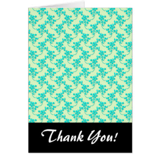 Cute Floral Pattern in Teal and Green Cards