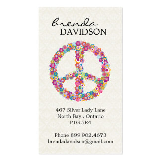 Cute Floral Peace Sign Profile Calling Card Business Card Template