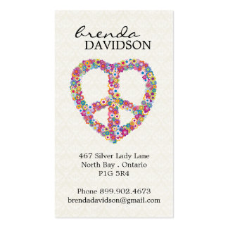 Cute Floral Peace Sign Profile / Calling Card Pack Of Standard Business Cards