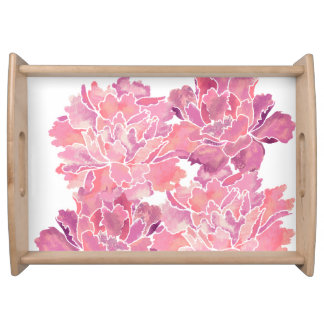 Cute floral ,peony, japanese style serving tray