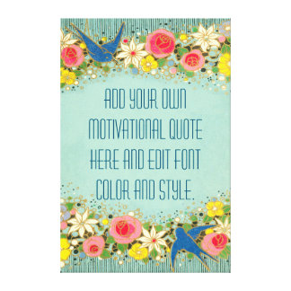 Cute floral persoanlized quote canvas print