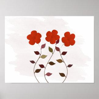Cute Floral Red Anemones Wedding Baby Nursery Poster
