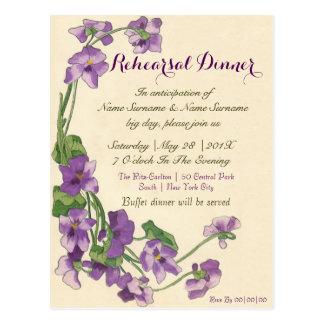 cute floral rehearsal dinner invitation postcard