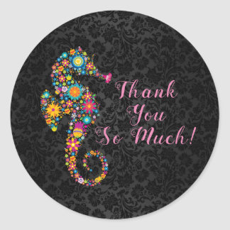 Cute Floral Seahorse Thank You Text Design Classic Round Sticker