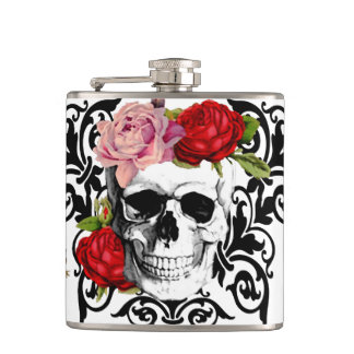 cute floral skull hip flask