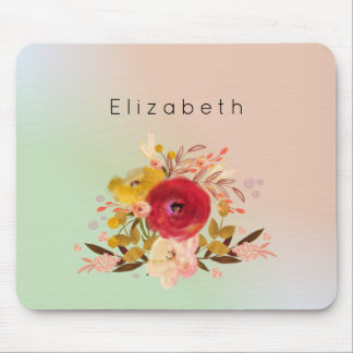 Cute Floral Watercolor Bouquet Personalized Mouse Pad