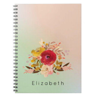 Cute Floral Watercolor Bouquet Personalized Notebook