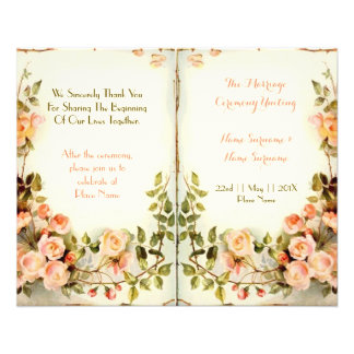 cute floral wedding program,roses full color flyer