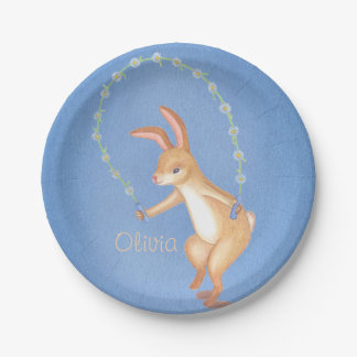 cute flower bunny children's party paper plate