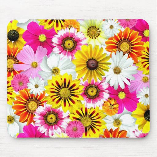 Cute Flower Collage Mouse Pad