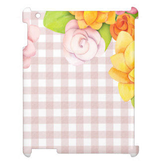Cute Flower Flowers Roses on pink checks Case For The iPad