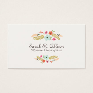 Cute Flower Logo Fashion Boutique Business Card
