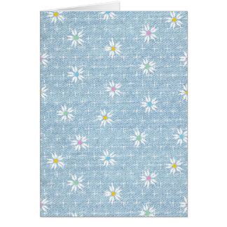 Cute flower pattern on denim look background card