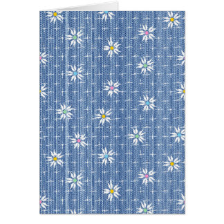 Cute flower pattern on grainy denim look card