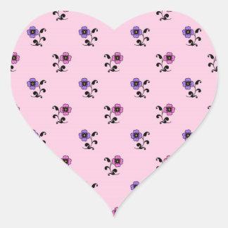 Cute Flower Pattern on Pale Pink Heart Sticker