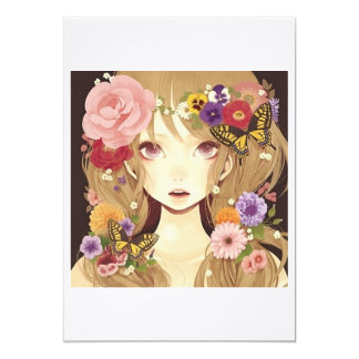 "cute flower pixie girl love 5"" x 7"" invitation card"